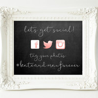 Social Media Sign, Hashtag Sign, Wedding Sign, Rose Gold - PRINTABLE 8x10""