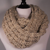 Soft Wool Chunky Knit Infinity Scarf, Knit Cowl, Knit Snood, Chunky Knit Scarf, Tan, Oatmeal - Ready to Ship