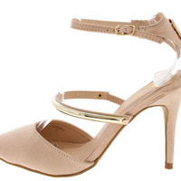 QUEENY2 PINK GOLD BAR POINTED TOE HEEL