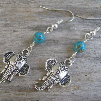Turquoise Elephant Earrings, Composite Turquoise Earrings, India Hindu Jewelry, Buddhist Earrings, Boho Earrings, Yoga, Blue & Silver
