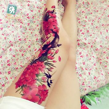 "AC-002/Beauty Full Arm Extra Large Leg Temporary Tattoos Body Art Tattoo Stickers, Full Arm, Flower 6""X 18"""
