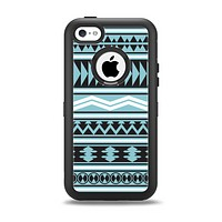 The Vector Blue & Black Aztec Pattern V2 Apple iPhone 5c Otterbox Defender Case Skin Set