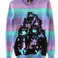 Purple Fade Crazy Kitty Sweater