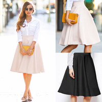 Fashion High Quality Women Lady Fashion High Waist Flared Pleated Business A-Line Skirt Knee-Length Skirt Pink/Black