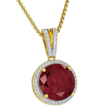 Solitaire Ruby CZ Pendant Round Cut Free Stainless Steel Necklace