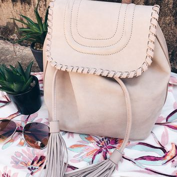 Tassel Backpack - Taupe