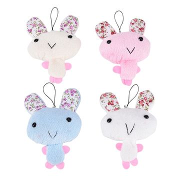1 Pcs New Cute Kawaii Keychain Plush Stuffed Rabbit For Phone Decor Bags Parts Accessories Color Random