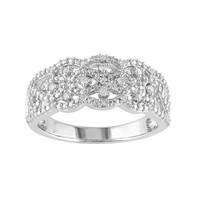 1/10 Carat T.W. Diamond Sterling Silver Openwork Infinity Ring (White)