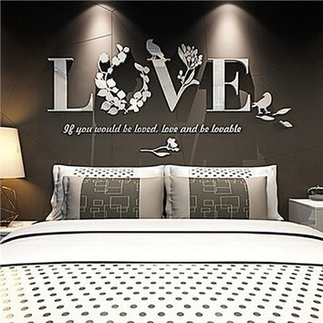 3D Mirror Love Wall Stickers Quote Flower Acrylic Decal Home DIY Art