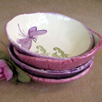 Dragonfly Prep Bowls Set of  FOUR by dgordon on Etsy
