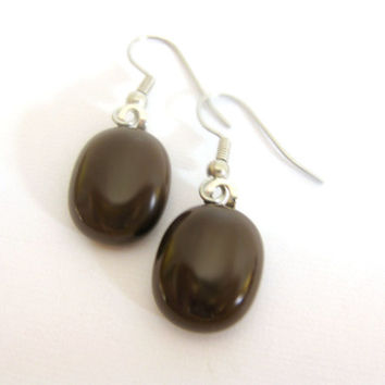 Fused Glass Earrings, Dangle Earrings, Brown Earrings, Jewelry - Brown Bear by mysassyglass on Etsy
