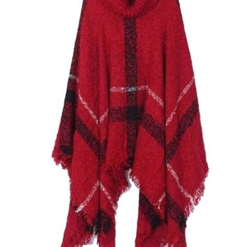 Women's Oversized Burgundy Red Turtle Neck Knit Plaid Poncho Jacket