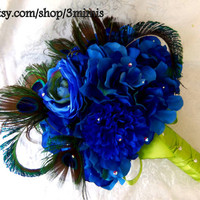 Nautical Peacock Feathear Wedding Bouquet - Shabby Chic - Blue and Green Hydrangea- Roses Bridal Bouquet