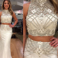 Sexy Long Two Piece Prom Dresses 2017 High Neck Beading Backless Party Evening Dresses vestido formatura longo