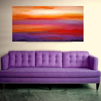 "Large Original Acrylic Abstract Painting on Gallery Canvas Titled: Autumn Sunset 24x48x1.5"" by Ora Birenbaum"
