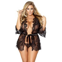 Sexy Tiffany Plus Size Lace Robe with Eyelash Detail & Satin Waist Tie