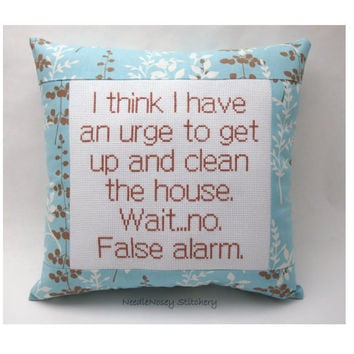 Funny Cross Stitch Pillow, Blue And Brown Pillow, Housekeeping Quote