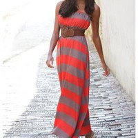 BELTED STRAPLESS RUGBY STRIPE MAXI DRESS