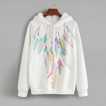 Women Casual Sweatshirt Printed Round Neck Hedging Hoody Hoodies Tops tee shirt femme camisetas mujer INY66