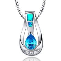 Sterling Silver W. Blue Teardrop CZ and Blue Green Fire Opal Pendant Necklace