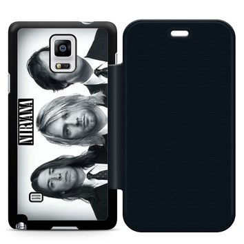Nirvana Band Leather Wallet Flip Case Samsung Galaxy Note 4