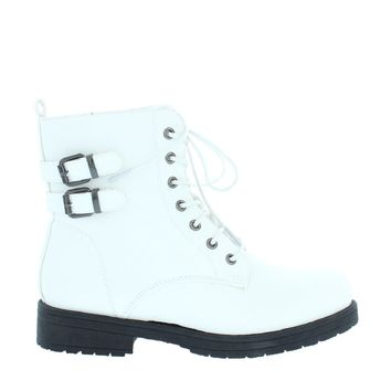 2 Buckle Lace Up Combat Boot (White)