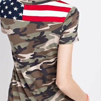 camouflage french terry top