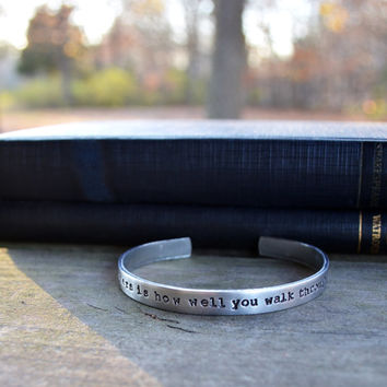 Bukowski Quote Cuff Bracelet - Modern - Aluminum - Looks Like Silver - Hand Stamped - Survivor - Unisex - Under 20 - For Him - For Her