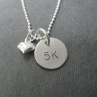 LOVE 5K Puffed Heart Sterling Silver Running Necklace - Choose 16, 18 or 20 inch Sterling Silver Ball Chain - Love to Run 5k, 5k Road Race