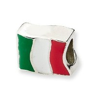 Reflection Beads Sterling Silver Italy Flag Bead (8 x 11 mm)