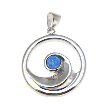 INLAY OPAL STERLING SILVER 925 HAWAIIAN OCEAN WAVE PENDANT ROUND RHODIUM 19.25MM
