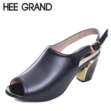 HEE GRAND Women Summer Sandals Peep-toe Solid PU Leather Med High Heels Shoes Woman Sq
