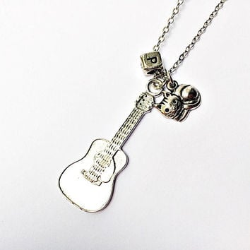 FRIENDS Phoebe Buffay Necklace: P letter block, guitar and smelly cat charms