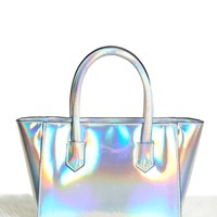 Faux Leather Iridescent Satchel