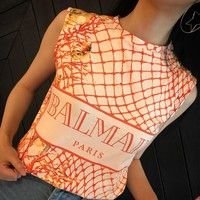 """Balmain"" Women Fashion Grid Letter Print Vest Sleeveless Buttons Decoration T-shirt Tops"