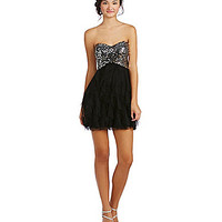 Blondie Nites Sequin-Bodice Ruffle Mesh Party Dress - Black/Silver