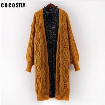 Women Cardigans Autumn Winter Fashion Loose Sweater Twist Knitted Jacket Coat Vintage Lantern Sleeve Long Cardigan