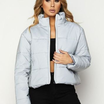 Reflect Upon It Bubble Puff Crop Jacket