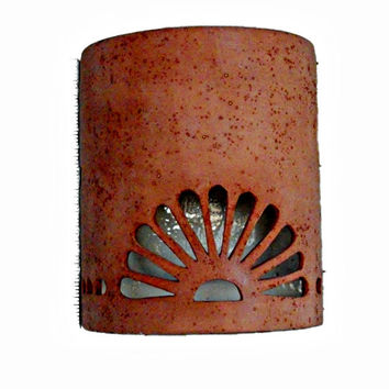 New Mexico Sun Symbol Outdoor Wall Sconce from Custom Cut