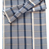 Barolo-Plaid Luxury Silk Wool Scarf-Navy