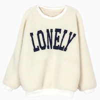 Lonely Print Shearling Sweatshirt - Choies.com