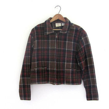 Vintage plaid wool cropped jacket // women's size M