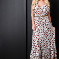 Floral Print Ruffled Strap Button-Up Maxi Dress