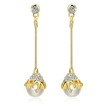 18K Gold Thin Line Drop Down Earrings Made with Swarovksi Elements