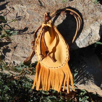 Medicine Pouch, Medine Bag With Fringe, Handmade by Lakota Artist, Native American, Hippie, Boho, Tribal, Mountain Man, Powwow, Rendezvous