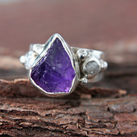 Rough Diamond Amethyst Ring Sterling Silver Raw Diamond Engagement Ring Size 8 Silversmithed Metalsmithed