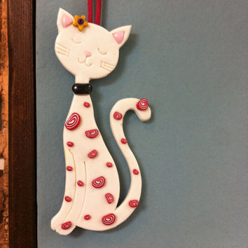 White Cat - Wall Hanging, Ornament, Wall Decor