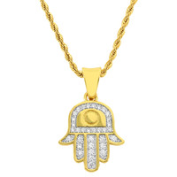"""Men's 18k Gold Finish Iced Out Hamsa Hand Pendant with 24"""" Free Rope Chain"""
