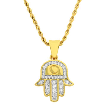 "Men's 18k Gold Finish Iced Out Hamsa Hand Pendant with 24"" Free Rope Chain"