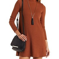 Ribbed Turtleneck Shift Dress